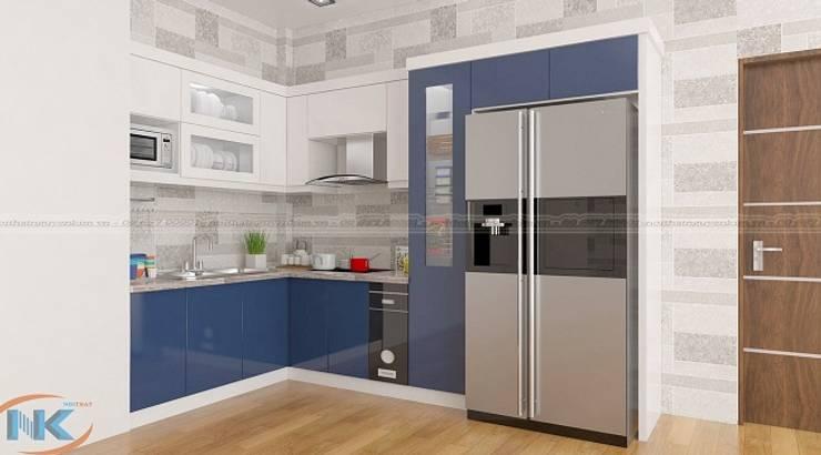 Những mẫu tủ bếp gỗ acrylic hiện đại dành cho căn bếp chung cư cao cấp:   by Nội thất Nguyễn Kim,