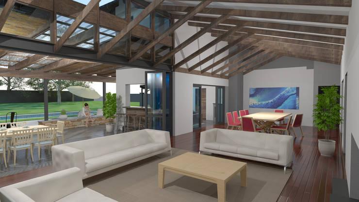 Indoor / outdoor relationship:  Living room by Edge Design Studio Architects,
