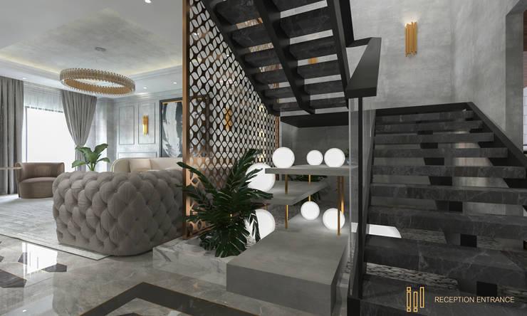 Duplex Apartment   El Banafseg:  Corridor & hallway by Saif Mourad Creations,