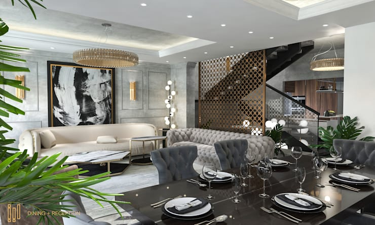 Duplex Apartment   El Banafseg:  Dining room by Saif Mourad Creations,