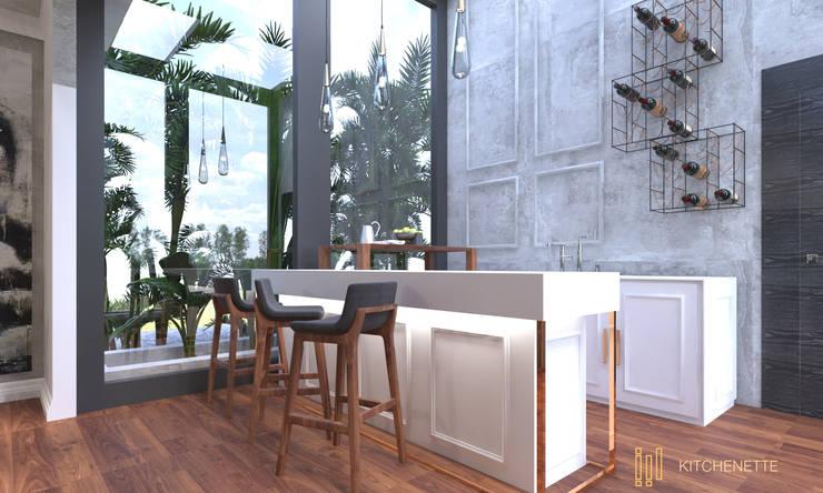Duplex Apartment   El Banafseg:  Kitchen by Saif Mourad Creations,