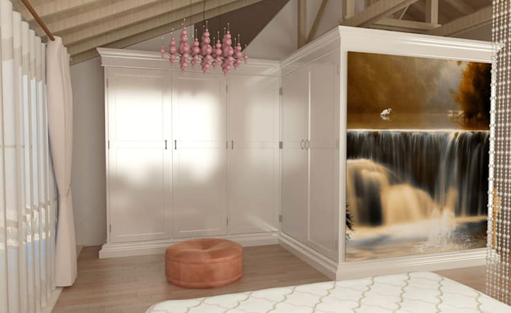 KALYA İÇ MİMARLIK \ KALYA INTERIOR DESIGN – Yatak Odası - Giyinme Bölümü:  tarz Giyinme Odası, Klasik Ahşap Ahşap rengi