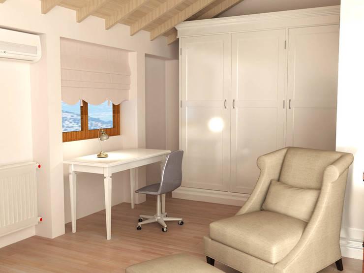 KALYA İÇ MİMARLIK \ KALYA INTERIOR DESIGN –  Dinlenme – Çalışma Alanı:  tarz Çalışma Odası, Klasik Ahşap Ahşap rengi