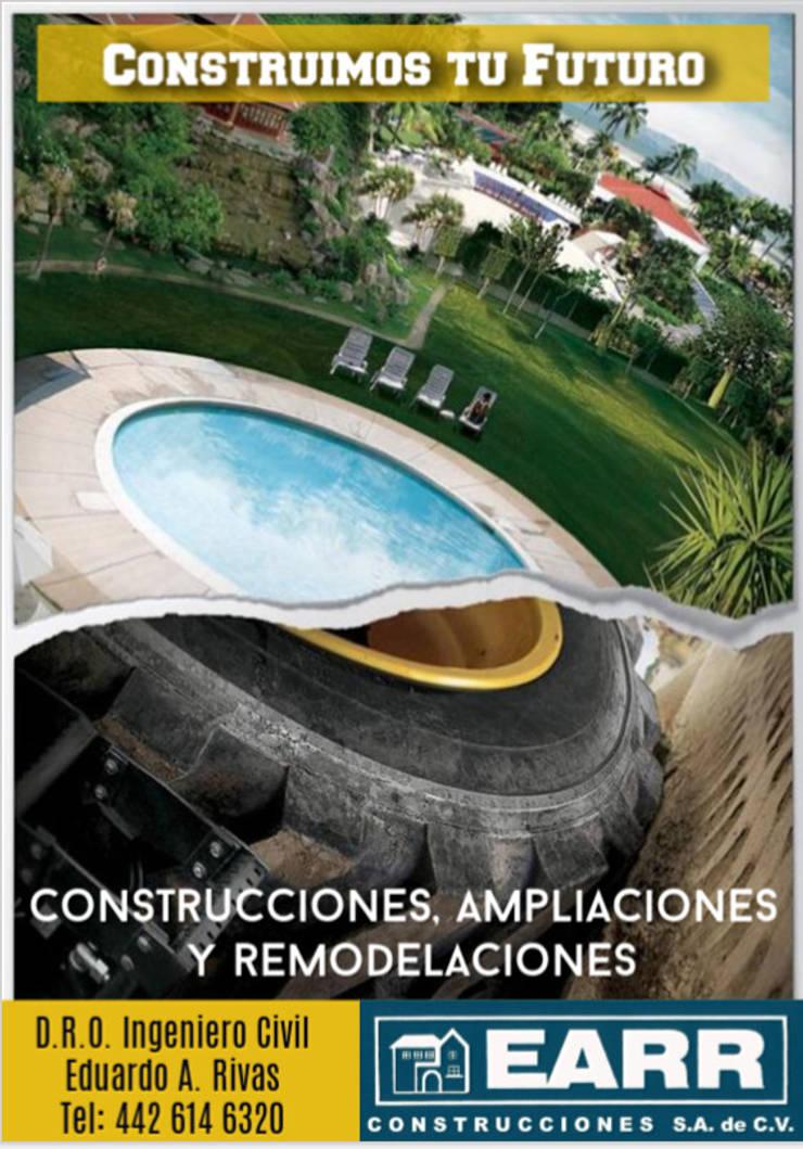 Piscinas de estilo  por EARR CONSTRUCCIONES, S.A. DE C.V., Minimalista