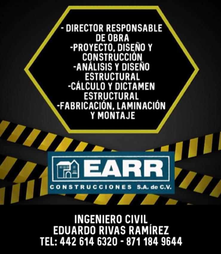Casas de estilo  por EARR CONSTRUCCIONES, S.A. DE C.V., Minimalista