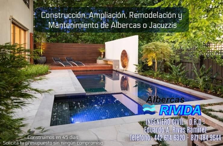 Piscinas de jardín de estilo  por EARR CONSTRUCCIONES, S.A. DE C.V., Minimalista Concreto reforzado