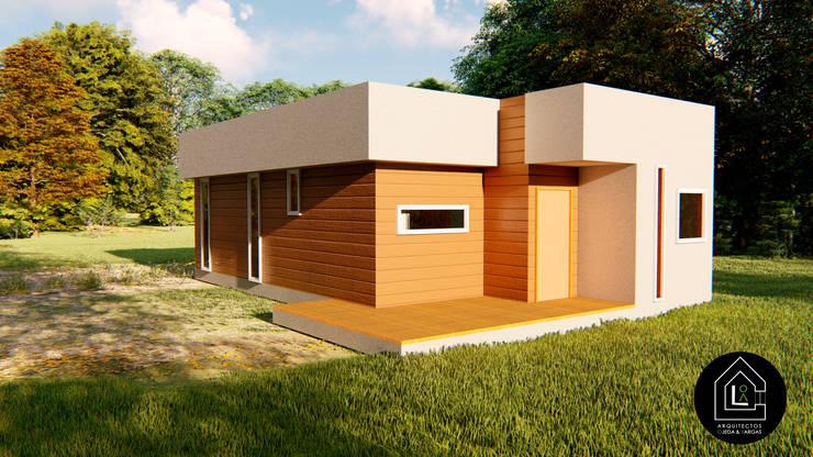 CASA 57 m2 - PREFABRICADA.: Casas prefabricadas de estilo  por Primer Clove Arquitectos, Rural Madera Acabado en madera