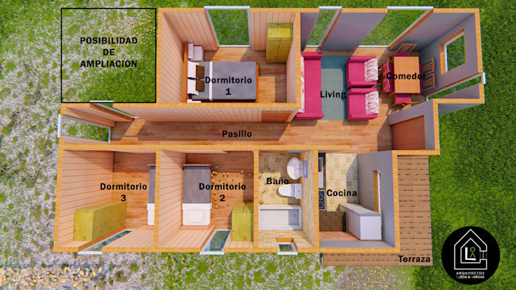 Interior Casa 57m2 Prefabricada: Casas prefabricadas de estilo  por Primer Clove Arquitectos, Rural