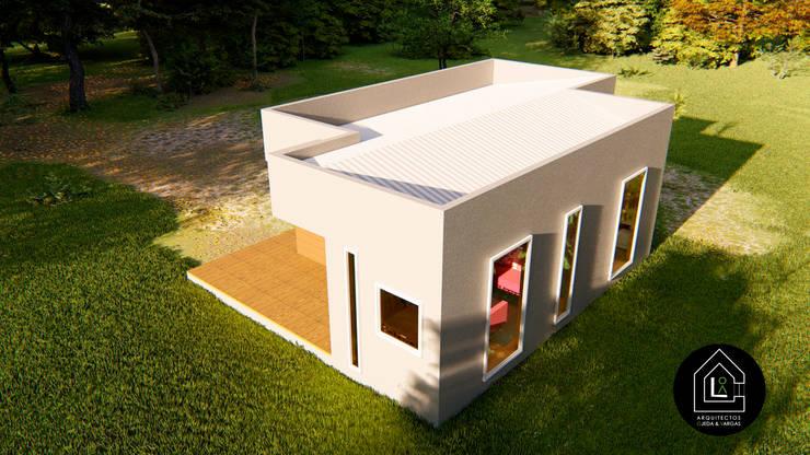 VOLUMEN CASA 57 m2 PREFABRICADA: Casas prefabricadas de estilo  por Primer Clove Arquitectos, Rural