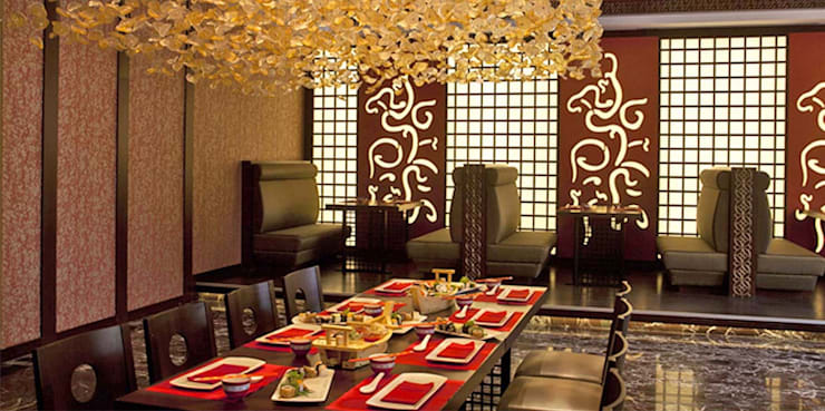 KALYA İÇ MİMARLIK \ KALYA INTERIOR DESIGN – Otel Uzakdoğu Restoranı - Localar:  tarz Yeme & İçme, Asyatik Ahşap Ahşap rengi