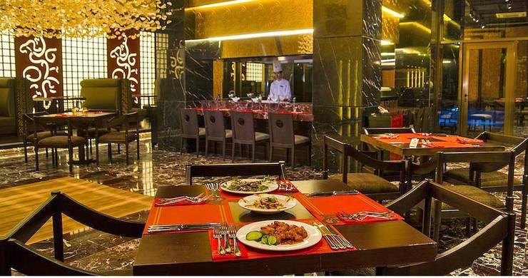 KALYA İÇ MİMARLIK \ KALYA INTERIOR DESIGN – Otel Uzakdoğu Restoranı - Teppenyaki:  tarz Yeme & İçme, Asyatik Ahşap Ahşap rengi