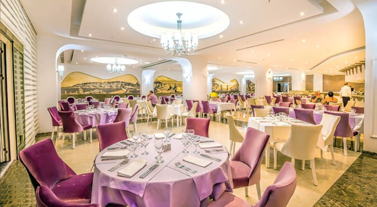 KALYA İÇ MİMARLIK \ KALYA INTERIOR DESIGN – Otel Ana Restoranı:  tarz Yeme & İçme, Klasik Ahşap Ahşap rengi