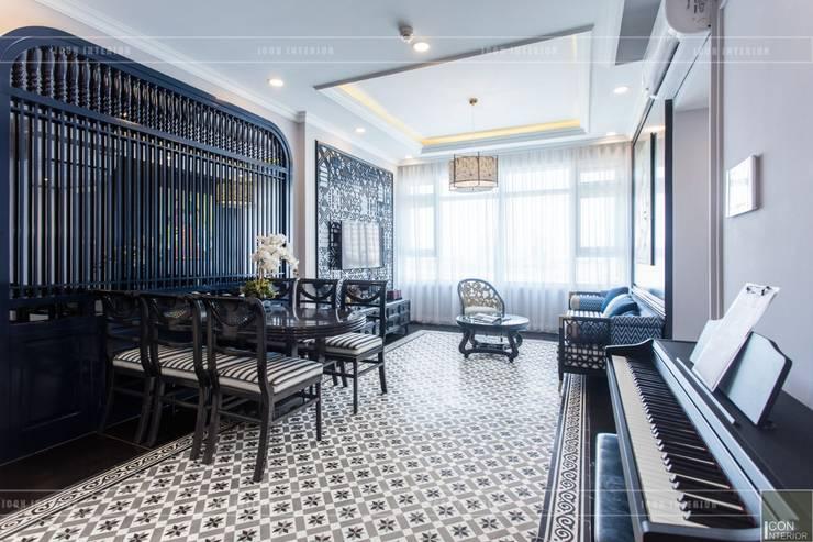 Phong cách Đông Dương trong căn hộ 3 phòng ngủ Saigon Pearl:  Phòng ăn by ICON INTERIOR,
