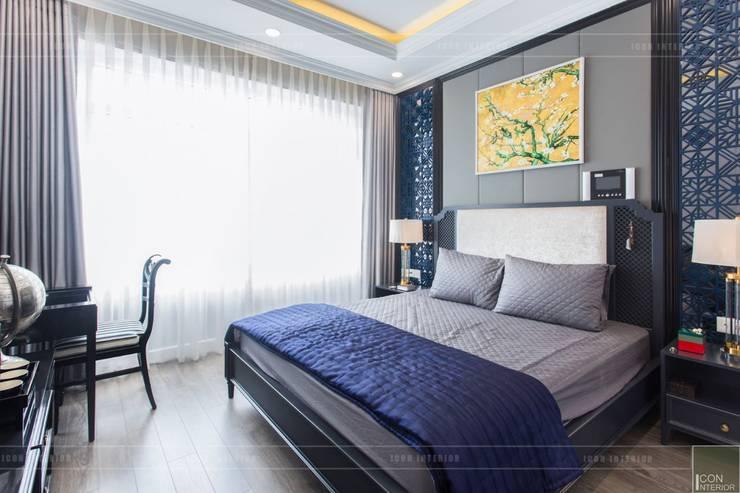 Phong cách Đông Dương trong căn hộ 3 phòng ngủ Saigon Pearl:  Phòng ngủ by ICON INTERIOR,