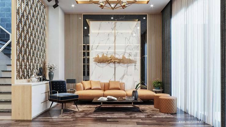 Mẫu thiết kế nội thất nhà phố hiện đại cao cấp 2019:  Living room by NEOHouse,