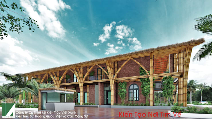 PHƯƠNG ÁN THIẾT KẾ KIẾN TRÚC NHÀ HÀNG 2 TẦNG:   by công ty cổ phần Thiết kế Kiến trúc Việt Xanh,