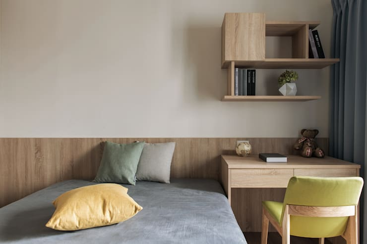 次臥室:  小臥室 by 詩賦室內設計, 現代風