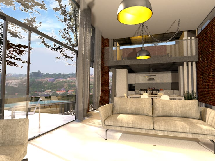 Living Room with Fireplace and View:   by Bevel Interior Design,