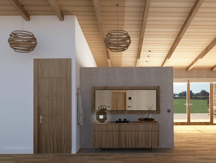 Hall de bienvenida: Pasillos y vestíbulos de estilo  de arQmonia estudio, Arquitectos de interior, Asturias,