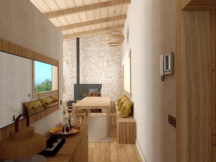 Una vivienda muy luminosa.: Pasillos y vestíbulos de estilo  de arQmonia estudio, Arquitectos de interior, Asturias,