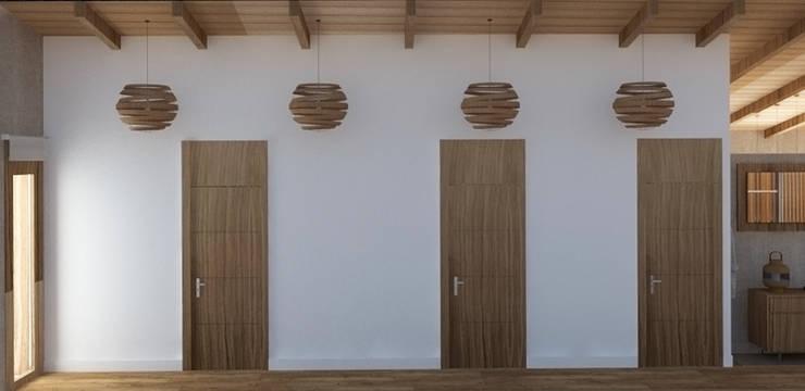 Espectacular pasillo.: Pasillos y vestíbulos de estilo  de arQmonia estudio, Arquitectos de interior, Asturias,