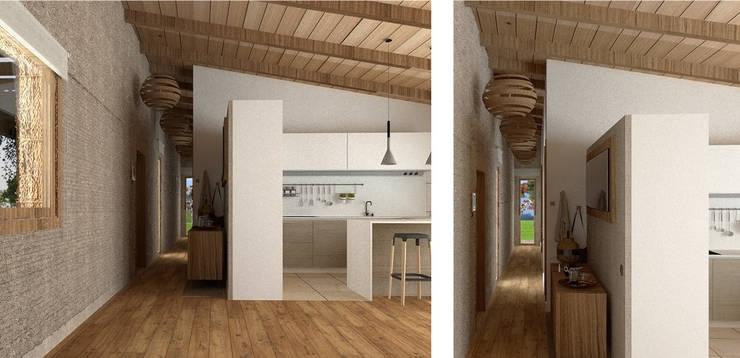 Muy diáfano.: Pasillos y vestíbulos de estilo  de arQmonia estudio, Arquitectos de interior, Asturias,