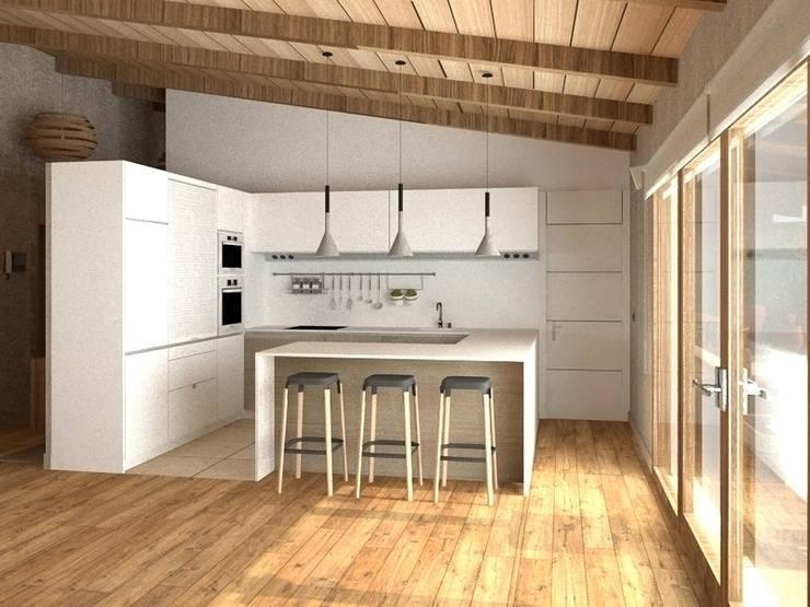 Cocina en blanco: Cocinas de estilo  de arQmonia estudio, Arquitectos de interior, Asturias,