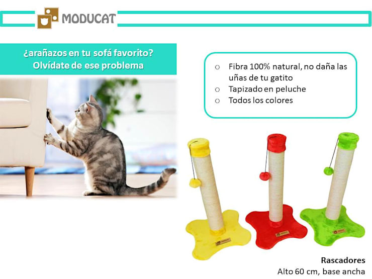 Rascadores para gato, base piso: Hogar de estilo  por ModuCat Estructuras modulares para gatos,