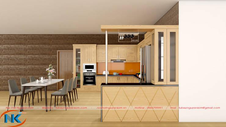 Combo 5 mẫu tủ bếp sồi nga có bàn đảo, quầy bar thông minh, tiện nghi:   by Nội thất Nguyễn Kim,