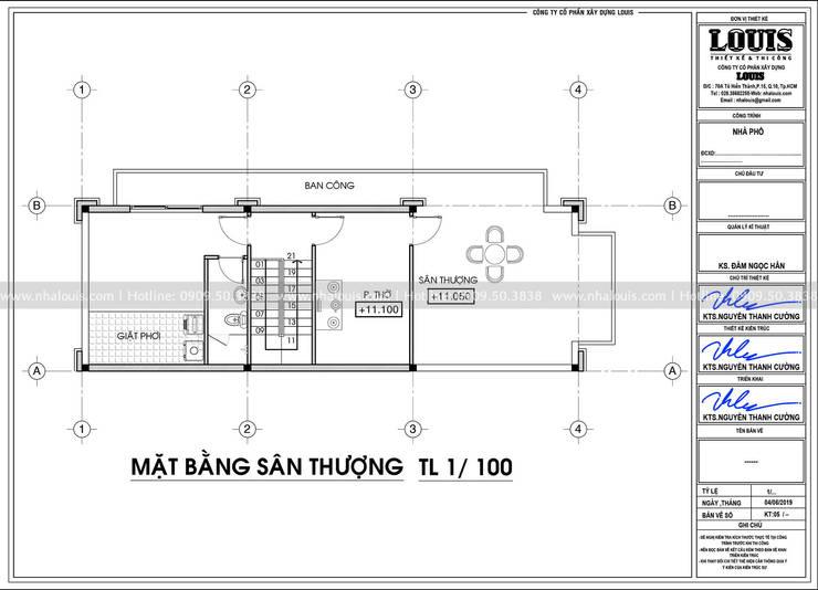 NHA PHO 4 TANG TAN CO DIEN DANG CAP VOI LOI THE 3 MAT TIEN TAI BEN TRE:   by Công Ty Thiết Kế Xây Dựng LOUIS,