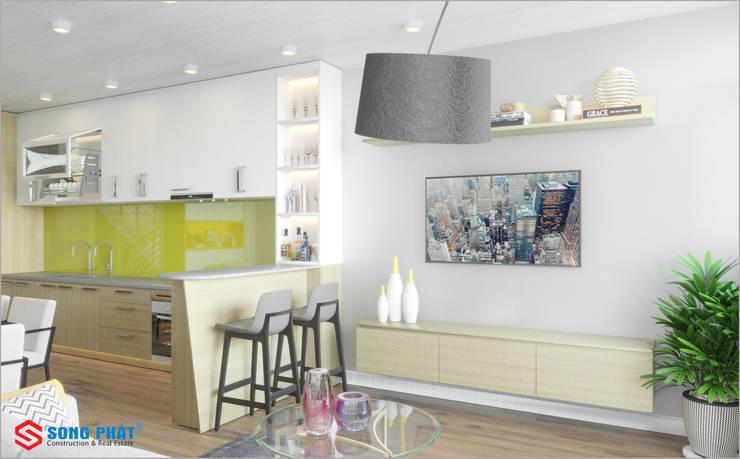 Dự án thiết kế nội thất nhà phố cao cấp với gỗ tự nhiên:  Kitchen by Công ty TNHH TK XD Song Phát,