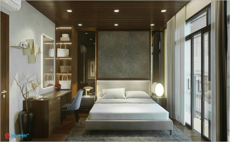 Dự án thiết kế nội thất nhà phố cao cấp với gỗ tự nhiên:  Bedroom by Công ty TNHH TK XD Song Phát,