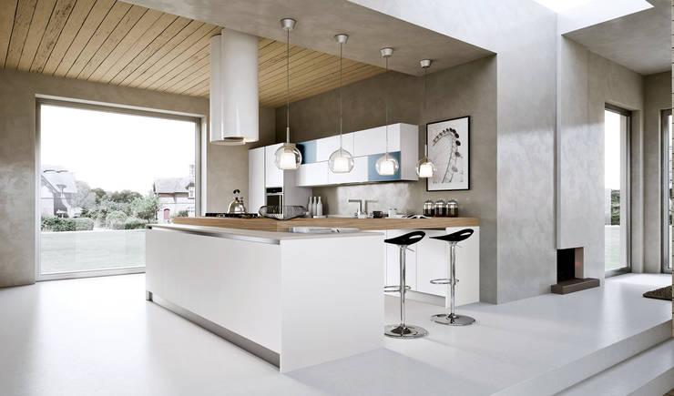 Modern white hi gloss kitchen:  Kitchen units by ATLAS KITCHENS,
