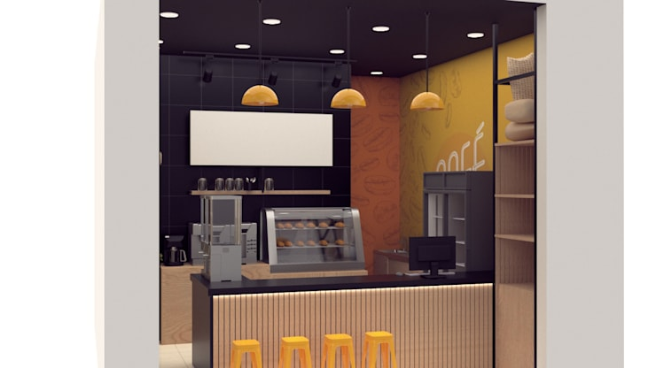 Diseño de cafeteria para B-One:  de estilo  por Magrev - Diseño y construcción de espacios.,