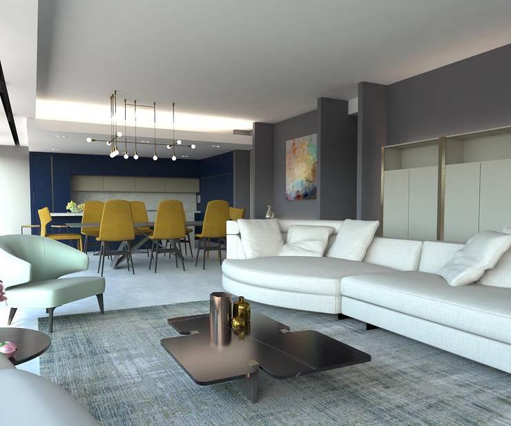 Ruang Keluarga oleh KALYA İÇ MİMARLIK \ KALYA INTERIOR DESIGN, Modern Marmer