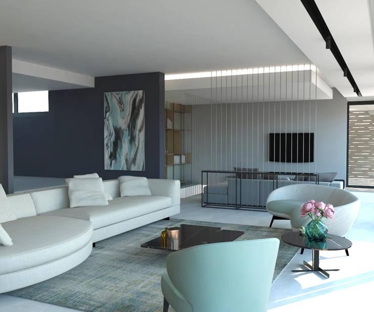 Ruang Keluarga oleh KALYA İÇ MİMARLIK \ KALYA INTERIOR DESIGN, Modern Keramik