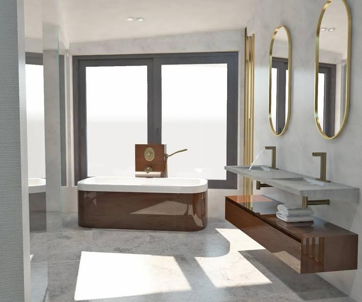 Badezimmer von KALYA İÇ MİMARLIK \ KALYA INTERIOR DESIGN, Modern Marmor
