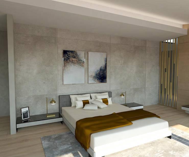 Kleines Schlafzimmer von KALYA İÇ MİMARLIK \ KALYA INTERIOR DESIGN, Modern Keramik