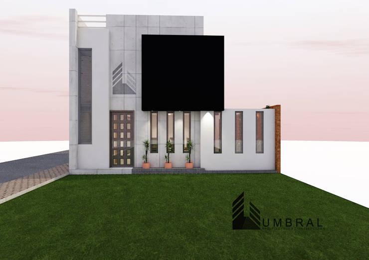 FACHADA PRINCIPAL: Casas de estilo  por Umbral arquitectura y construccion,