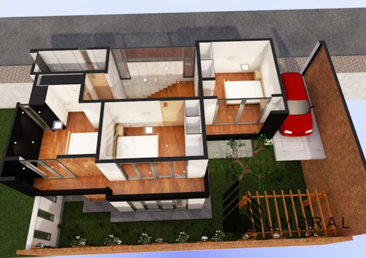 ISOMETRIA 2DA PLANTA: Casas de estilo  por Umbral arquitectura y construccion,