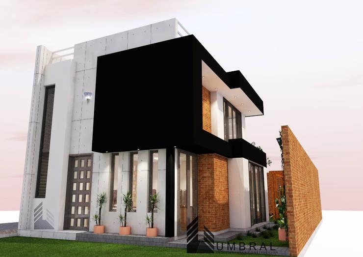 FACHADA PRINCIPAL Y LATERAL: Casas de estilo  por Umbral arquitectura y construccion,