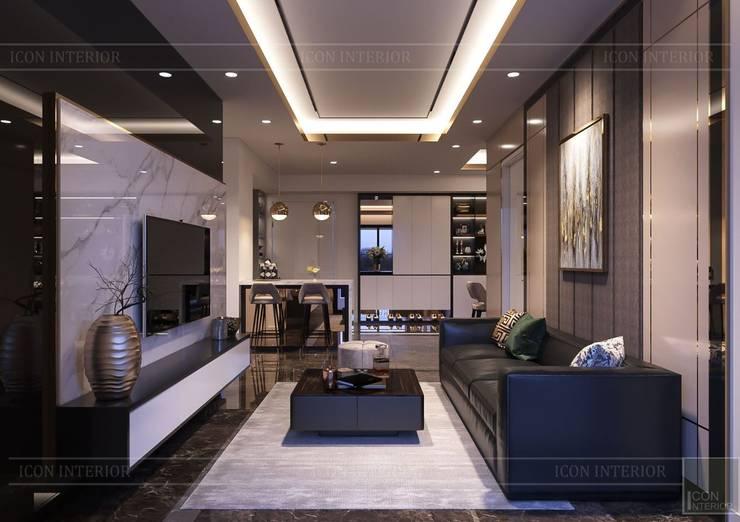 Phong cách hiện đại trong thiết kế nội thất căn hộ Saigon Royal:  Phòng khách by ICON INTERIOR,