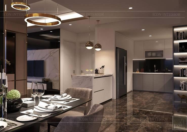 Phong cách hiện đại trong thiết kế nội thất căn hộ Saigon Royal:  Phòng ăn by ICON INTERIOR,