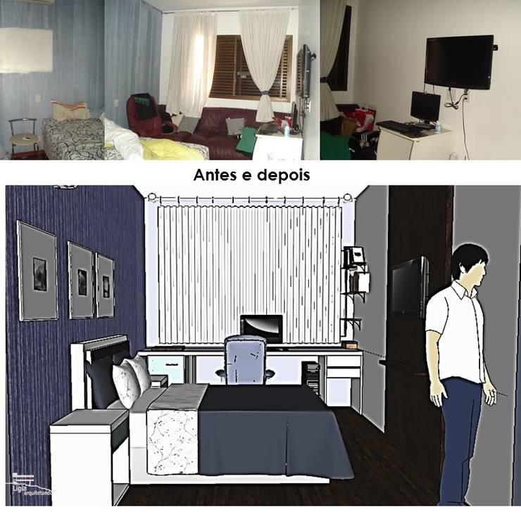 antes e depois quarto jovem:   por Ligia Arquitetando,Moderno