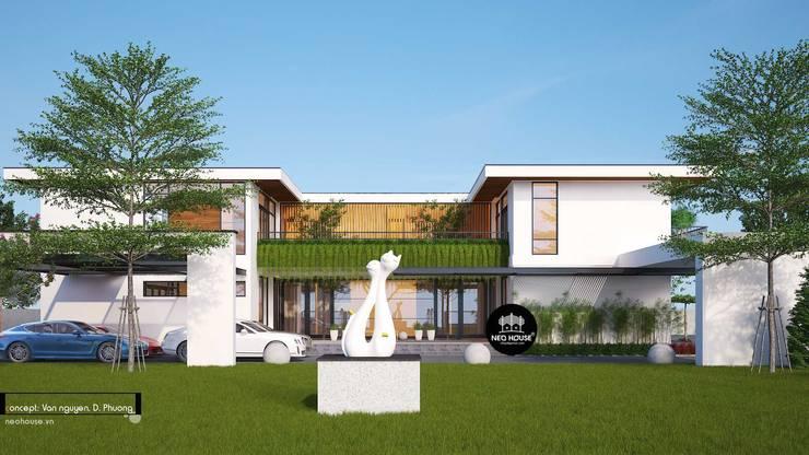 Mẫu thiết kế biệt thự 2 tầng kết hợp kinh doanh cafe tại Tây Ninh:   by NEOHouse,