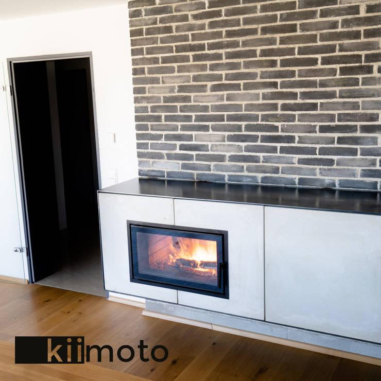 Salones de estilo  de kiimoto kamine, Escandinavo Caliza
