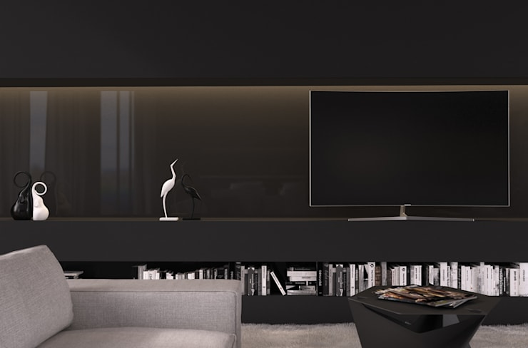 Functional Black || Сочи, ЖК <q>Сокол</q>: Гостиная в . Автор – VICMA-design, Модерн