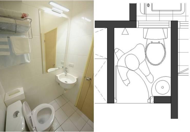 小而美的半坪衛浴間:  浴室 by 大觀創境空間設計事務所,