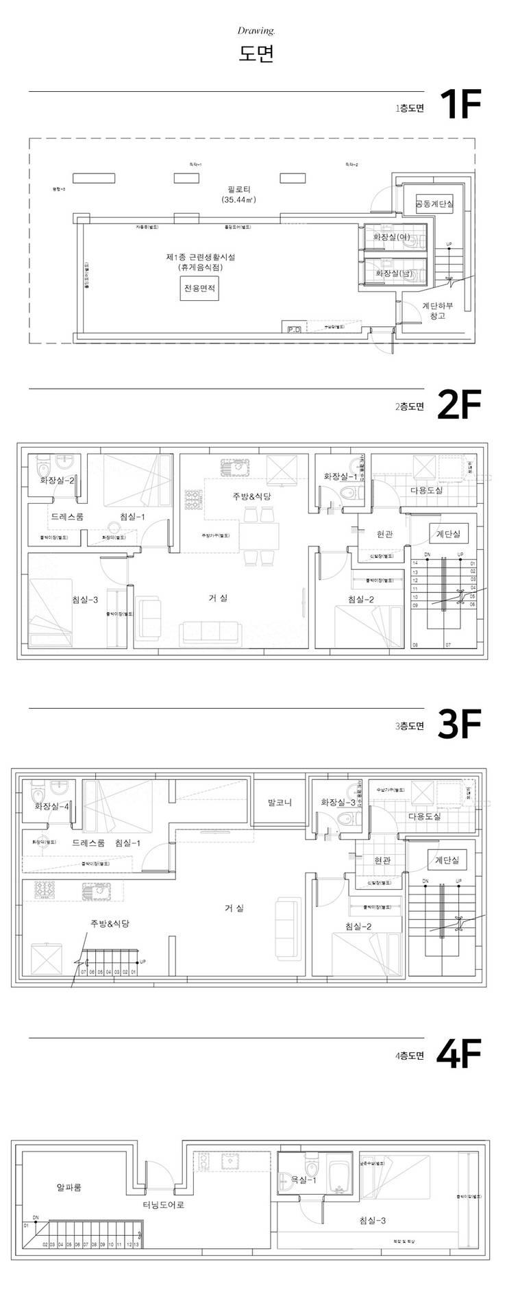 90년대 풍경 속 세련된 다구주택: 한글주택(주)의 현대 ,모던