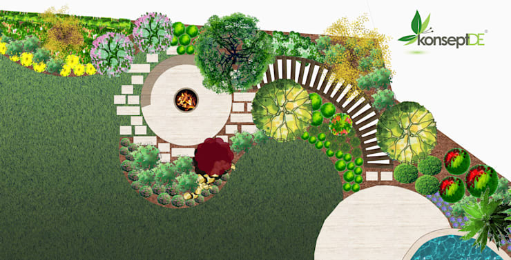 konseptDE Peyzaj Fidancılık Tic. Ltd. Şti. – ÖZEL KONUT Peyzaj Projelendirme & Landscaping Project:  tarz ,